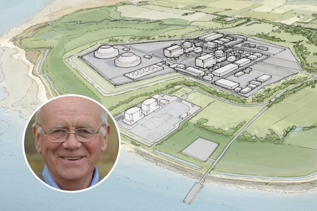 Vision - the proposed Bradwell B site and (inset) Prof Andy Blowers, chairman of campaign group against the nuclear power station