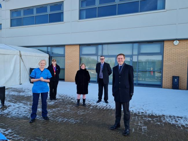 Vaccine - Colchester MP Will Quince visited the mass vaccination centre at Colchester United's stadium