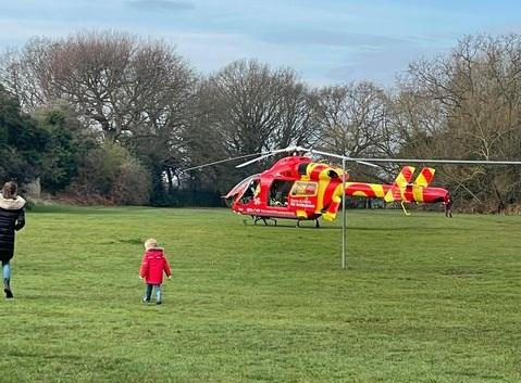 Patient taken to hospital after air ambulance lands in Old Heath Road. Picture: Kristina Campbell