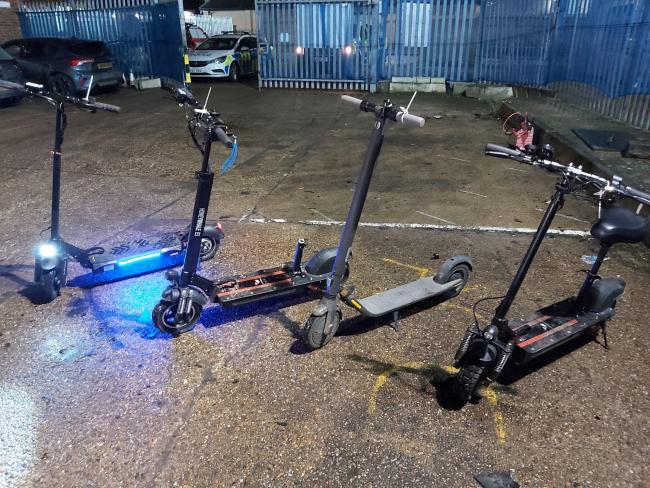 Seized - e-scooters seized by officers. Picture: Essex Police