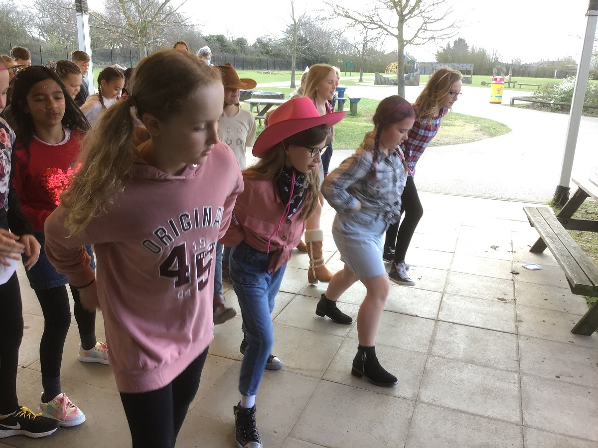 You put your right leg in - Hollie Robertson, ten, Imogen Tyers, ten, Kyla-Jae King, nine, and Poppy Stone, ten, show off their line dancing skills