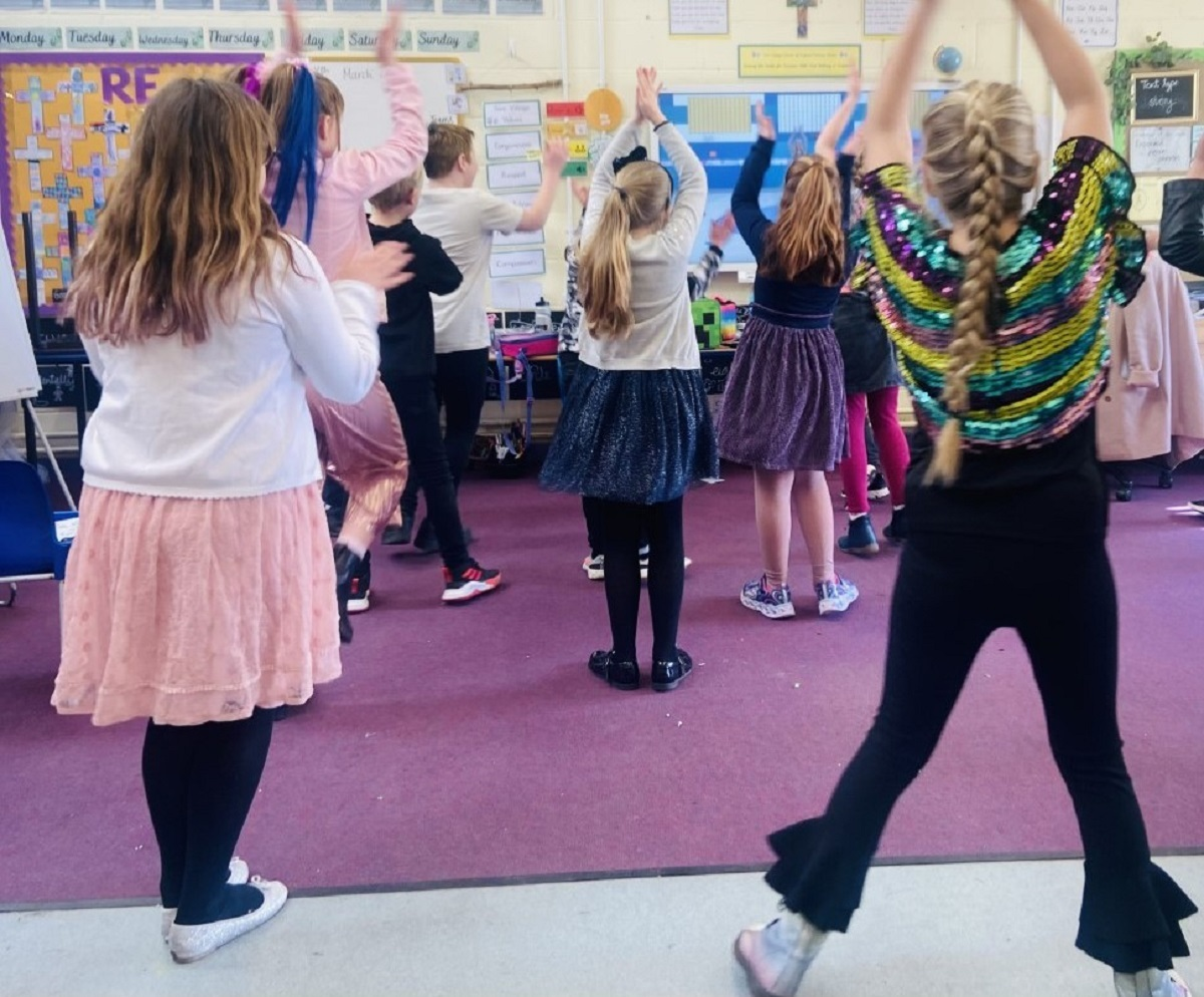 Learning new moves - Year Four children dancing Zumba
