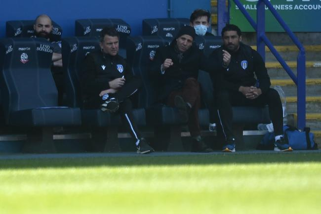 Watching on - new Colchester United head coach Hayden Mullins (right) with Paul Tisdale (centre) and goalkeeper coach Darren Smith during his side's 0-0 draw at Bolton Wanderers Picture: RICHARD BLAXALL
