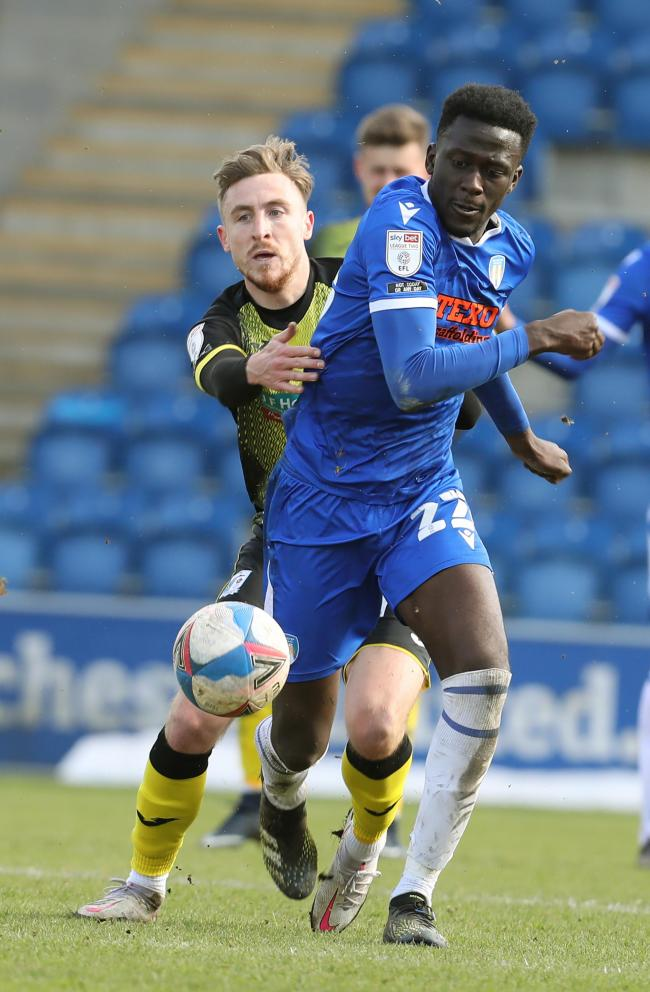 Impressive - Colchester United midfielder Brendan Wiredu battles for possession during his side's 1-1 draw with Barrow, on Easter Monday Picture: STEVE BRADING