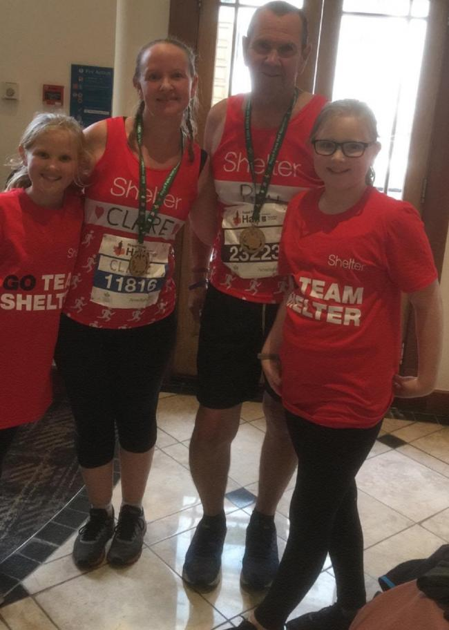 Running duo - Ray and Clare hope to raise money for the Alzheimer's Society. They are pictured here with Clare's daughters, Ella and Aimee