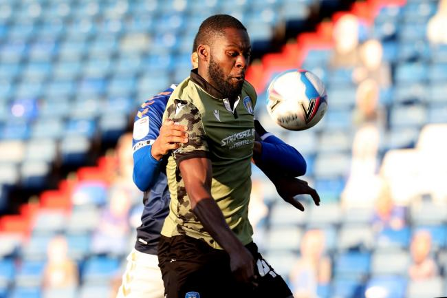 On target - Colchester United goalscorer Frank Nouble in action during his side's 5-2 defeat at Oldham Athletic Picture: STEVE BRADING
