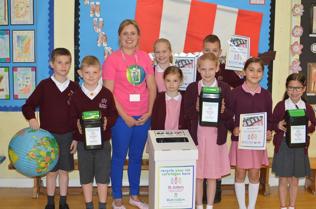 Spread the word - Becky Baines with members of the Eco Club at St. John's Church of England Primary School in Colchester