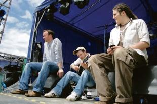 On stage – Richard Grace, Matt Cardle and Ali McMillan at the Brownstock Festival, at South Woodham Ferrers