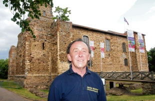 Mick Bates, of Bates Roofing and Construction, outside the crumbling Colchester Castle