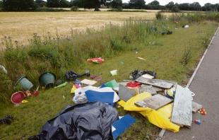 Mess – rubbish found dumped after travellers vacated the site in Axial Way, Colchester