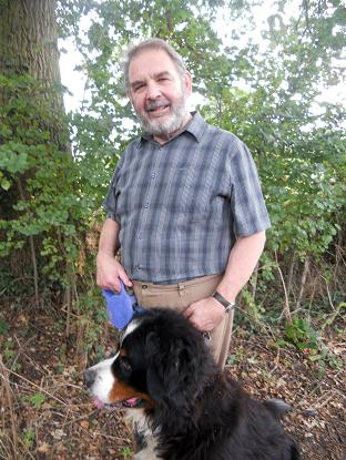 Lord Hanningfield taking dog Jefferson for a walk