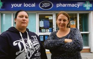 """It's not right"" – Georgina Wylie and Louise Davies want their local Boots pharmacy, in Tamarisk Way, Greenstead, Colchester, to serve drug addicts methadone at set times"