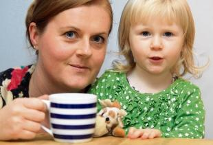 Raising awareness – Faye Holdsworth with daughte,r Georgia-May Motarski, who was scarred after being scalded by coffee