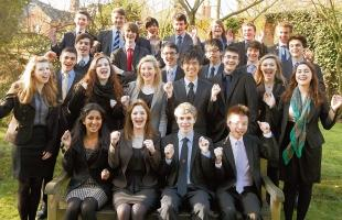 some of the 34 pupils of Colchester Royal Grammar School who have been awarded places at Oxford and Cambridge universities