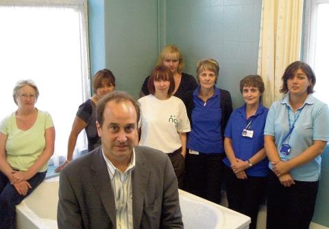 Brooks pictured during a visit to the Braintree Birthing Unit last year.