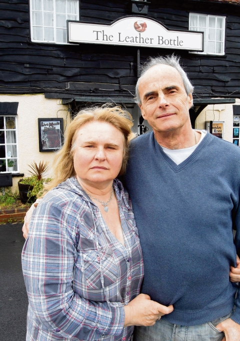 Carol and Frank Beardsell – outside the Leather Bottle, in Shrub End Road, Colchester