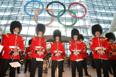 Warm welcome: the Olympic Rings at Heathrow Airport...