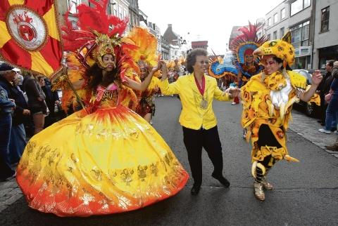 Colchester mayor Helen Chuah with the Boudica samba troupe at last year's carnival