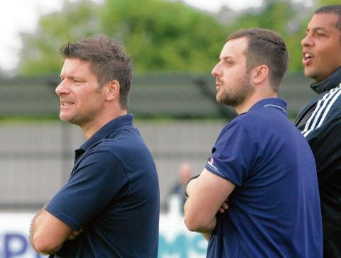 Brad King (right) and Witham boss Garry Kimble