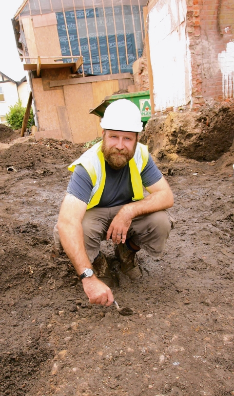 Adam Wightman on the site of the dig