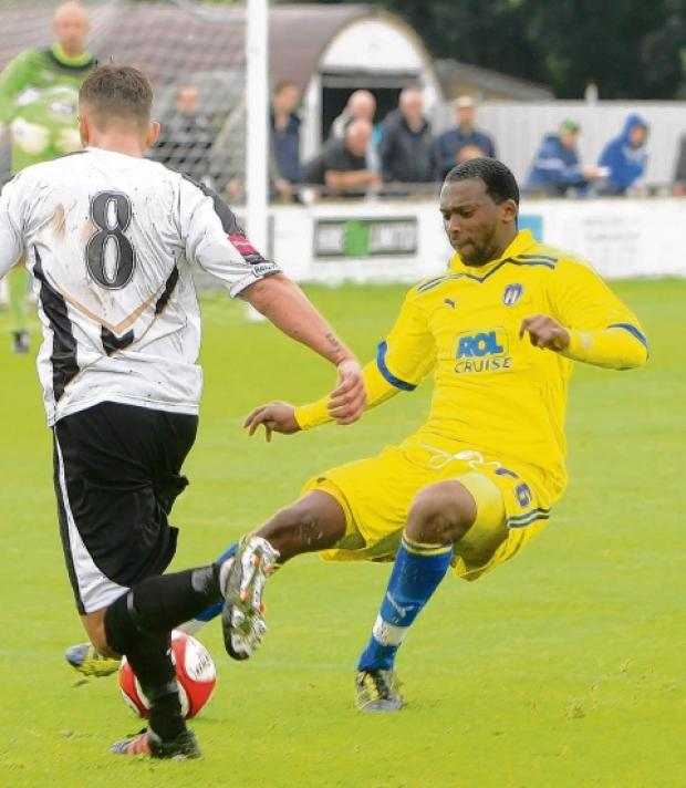 New deal - Merrick James-Lewis (yellow kit) has signed a six-month deal with Colchester United after impressing as a trialist. Picture: SEANA HUGHES (CO60186-20)
