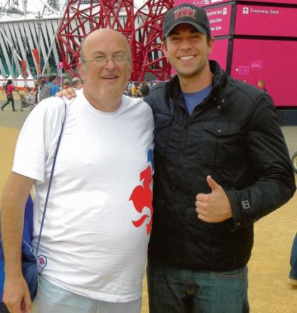 Celebrity spot – Conrad Readman Ppictured meeting Zachary Levi from the US TV series, Chuck, in the Olympic park