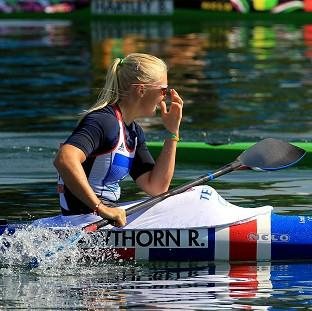 Rachel Cawthorn reacts after failing to win a medal