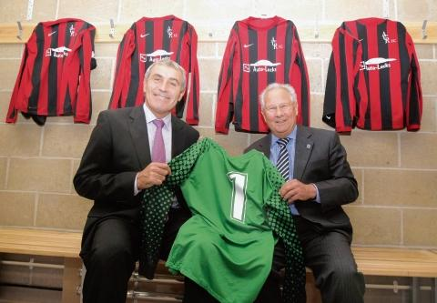 Peter Shilton is shown the new changing rooms by Ernie Osborne, chairman of Alresford Parish Council