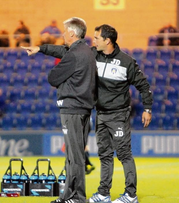 Making a point - Colchester United manager John Ward with assistant manager Joe Dunne during the U's 1-1 draw with Crawley Town. Picture: STEVE ARGENT (CO69249-12)
