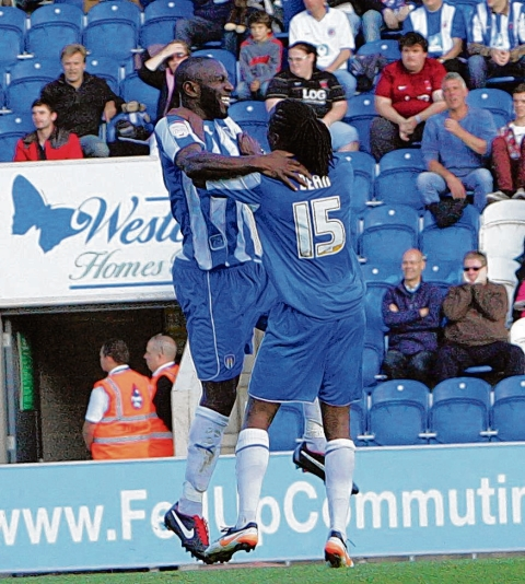 On target - Jabo Ibehre scored Colchester's first goal in their 2-0 win over Walsall.