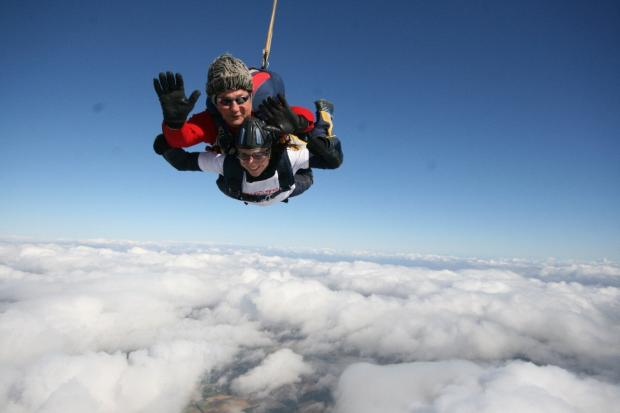 Rhiannon Griffiths during her 13,000ft skydive.