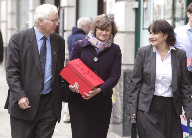 Jackie McCord, reporter Wendy Brading and Colchester Sir MP Sir Bob Russell go to the Department for Transport.