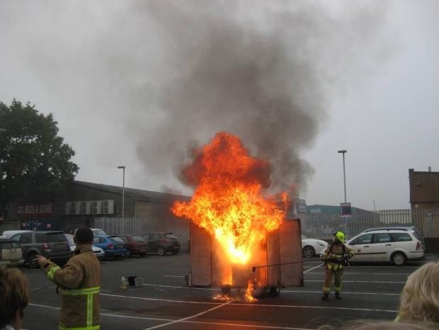 Firefighters demonstrate what happens if you put water on a chip pan fire