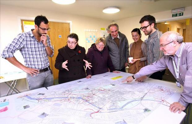 Reg Patterson, regeneration project leader (right) looks at the map with  architects, DPQ, John Dallas (left) talking to Ali Wilkin with Mary Blandon and Bob Barnett Juliet Quintero and David Pierce