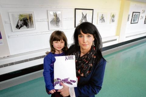 Art teacher Claire Gillen with daughter Niamh, five, at Colchester General Hospital