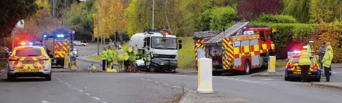 UPDATED: Young man dead after road sweeper and car collide