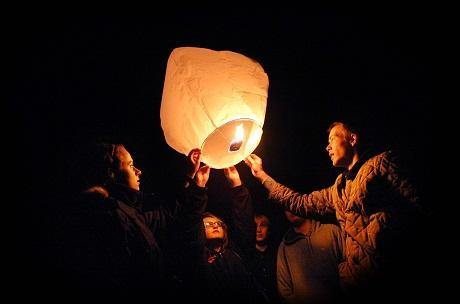 Friends release Chinese lanterns in memory of Josh