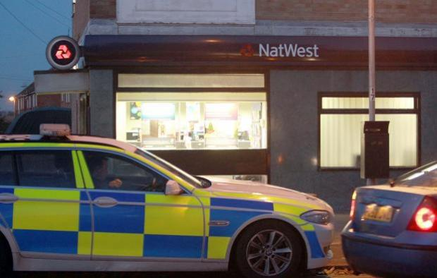 Gazette: The scene outside Natwest in Great Clacton on Wednesday evening