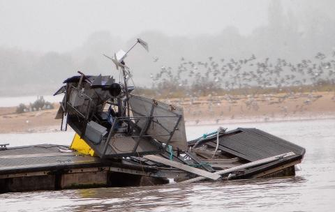 Part of the damaged pontoon in Brightlingsea Harbour
