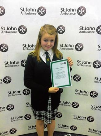Charley Moore with her St John Ambulance commendation.