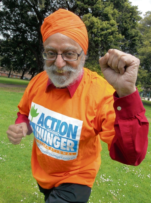 Malkiat Singh training for one of his former charity fundraisers.