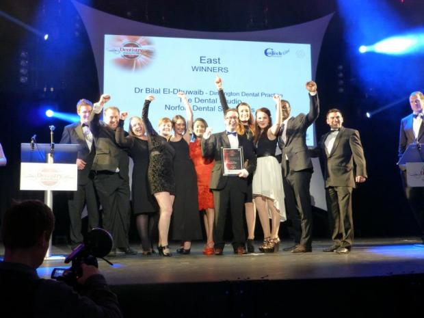 All smiles! The team from the Dental Studio in Colchester win the East of England award for best practice.