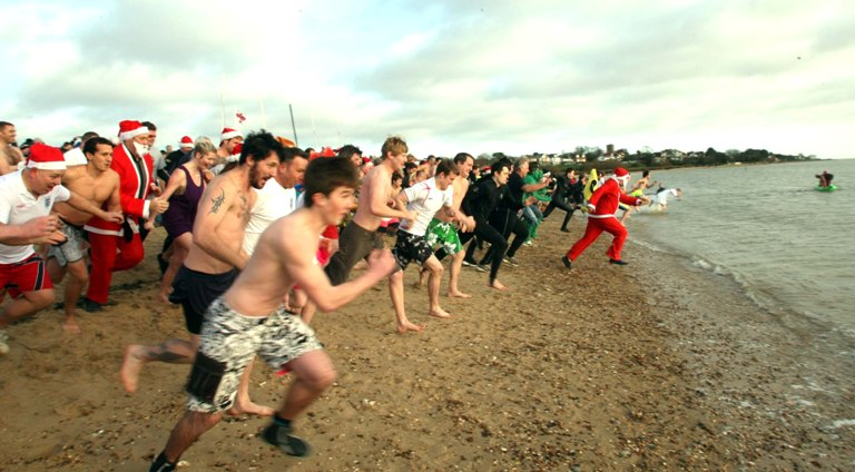 Boxing Day swimmers in Mersea