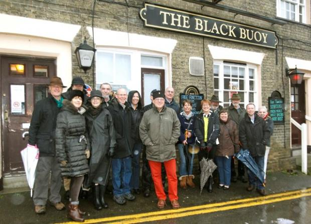 Regulars outside the Black Buoy in Wivenhoe