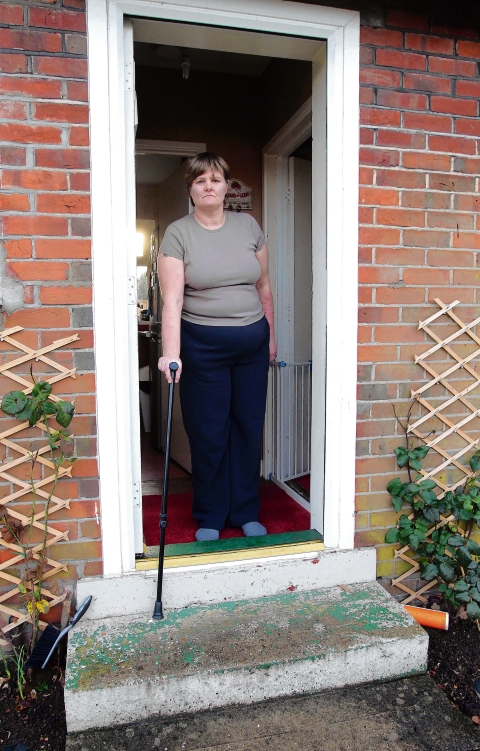 Helena Harrison shows how unsuitable her council home is for wheelchair users.