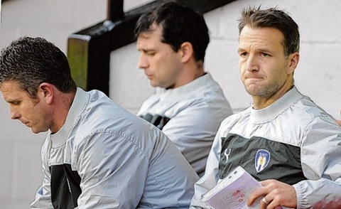 Coaching brief - Karl Duguid (right, pictured with Mark Kinsella and Joe Dunne), took charge of the U's side that took on AFC Hornchurch in the Essex Senior Cup. Picture: WARREN PAGE
