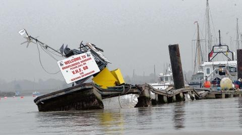 The damaged Fisherman's Pontoon in Brightlingsea Harbour.