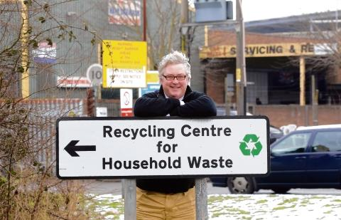 Kevin Bentley, councillor for waste and recycling at Essex County Council, outside the Shrub End recycling centre.