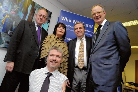 Essex County Council leader Peter Martin launches the Who Will Care commission. Back row L-R Peter Martin with panel members Sheila Salmon, Gary Sweeny and Sir Thomas Hughes-Hallett. At front is commission member Mike Adams.