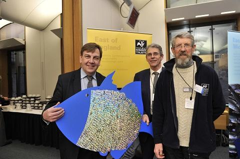 MP John Whittingdale (left) with Essex Wildlife Trust chief executive John Hall (centre) and Essex Wildlife Trust chairman Mike Sanderson (right)